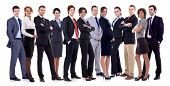 stock photo of crew cut  - Successful happy business team formed by business men and women - JPG