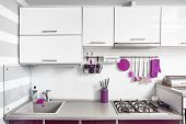 Kitchen Interior In Purple, White And Gray Colours. Trendy Ultraviolet Kitchen Room Design poster