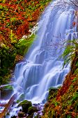 stock photo of upstream  - Vivid colorful falls upstream from Multnomah Falls - JPG