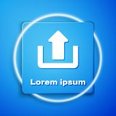 White Upload Icon Isolated On Blue Background. Up Arrow. Blue Square Button. Vector Illustration poster