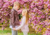 Spring Time To Fall In Love. Kids In Love Pink Cherry Blossom. Love Is In The Air. Couple Adorable L poster