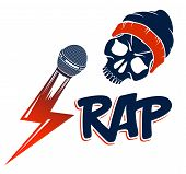 Hip Hop Music Vector Logo Or Label With Wicked Skull And Microphone, Rap Rhymes Night Club Party Fes poster