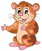 Cute cartoon hamster - vector illustration.