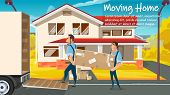 Home Moving, Relocation Service Cartoon Vector Ad Banner Or Poster Template With Two Workers In Unif poster