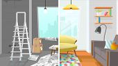 Modern Apartment Living Room Interior Repair Cartoon Vector Concept. Before And After Construction,  poster
