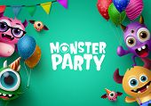 Monster Party Background Template With Vector Characters. Monster Party Text In Empty Space For Mess poster