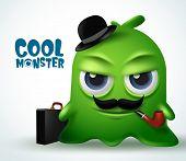 Cool Monster Mafia Boss Character Vector Design. Cool Monster Boss Slime Character Creature With Bea poster