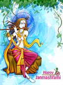 Vector Design Of Lord Krishna Playing Bansuri Flute On Happy Janmashtami Holiday Festival Background poster
