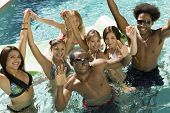 image of ethnic group  - Friends Playing in Pool - JPG