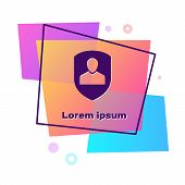 Purple User Protection Icon Isolated On White Background. Secure User Login, Password Protected, Per poster