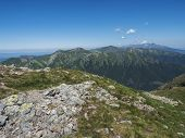Mountain Landscape Of Western Tatra Mountains Or Rohace With View On High Tatras With Krivan Peak Fr poster
