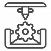 Cogwheel 3d Printing Line Icon. 3d Printing Mechanics Vector Illustration Isolated On White. Gear 3d poster