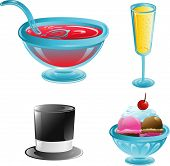 picture of top-hat  - Illustrations of four different party and food icons - JPG