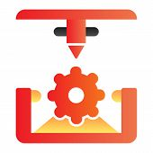 Cogwheel 3d Printing Flat Icon. 3d Printing Mechanics Color Icons In Trendy Flat Style. Gear 3d Prin poster