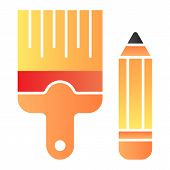 Pencil And Brush Flat Icon. Drawing Tools Color Icons In Trendy Flat Style. Paint And Draw Gradient  poster