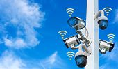 Cctv System Camera On Pole Surround Wifi Security System Technology, Lungs Separated From The Backgr poster