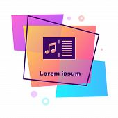 Purple Music Book With Note Icon Isolated On White Background. Music Sheet With Note Stave. Notebook poster