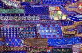 stock photo of rajasthani  - Rajasthani Indian patchwork wall cloth - JPG