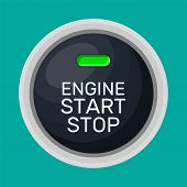 Engine Start And Stop Button With Light. Car Engine Start. Modern Starting And Stopping Switch For M poster