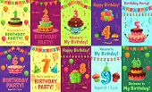 Cartoon Anniversary Greeting Card. Birthday Numbers, Celebration Invitation And Party Cake Number Ca poster