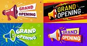 Grand Opening Banners. Invitation Card With Megaphone Speaker, Opened Event And Opening Celebration  poster