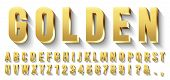 Golden 3d Font. Metallic Gold Letters, Luxury Typeface And Golds Alphabet With Shadows. Elegancy Fon poster