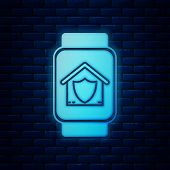 Glowing Neon Smart Watch With House Under Protection Icon Isolated On Brick Wall Background. Protect poster