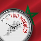 The Best Time To Visit Morocco. Travel To Morocco. Tourist Air Flight. Waving Flag Background And Do poster