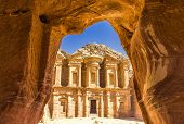 Stunning View From A Cave Of The Ad Deir - Monastery In The Ancient City Of Petra, Jordan, Incredibl poster