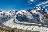 Hdr Panorama Of Famous Gorner Glacier Near Zermatt In Switzerland, Summer poster