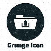 Grunge Folder Upload Icon Isolated On White Background. Vector Illustration poster