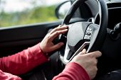 Man Hand Holding Car Steering Wheel - Male Hand Close Up Shallow Dof Depth Of Field Driving Car - Bo poster