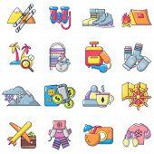 Recreational Activity Icons Set. Cartoon Set Of 16 Recreational Activity Vector Icons For Web Isolat poster