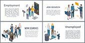 Unemployed Office Banner Set. Isometric Set Of Unemployed Office Vector Banner For Web Design poster