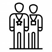 Two Vip Persons Icon. Outline Two Vip Persons Vector Icon For Web Design Isolated On White Backgroun poster