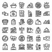 Homeless Shelter Icons Set. Outline Set Of Homeless Shelter Vector Icons For Web Design Isolated On  poster