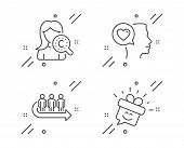 Collagen Skin, Romantic Talk And Queue Line Icons Set. Smile Sign. Skin Care, Love Chat, People Wait poster