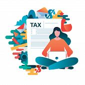 Online Tax Payment Concept, People Filling Application Form Tax Form. Flat Vector Illustration. Cart poster
