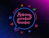 Journey Path Line Icon. Neon Laser Lights. Project Process Sign. Glow Laser Speech Bubble. Neon Ligh poster