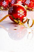 picture of reveillon  - Christmas background with red balls - JPG