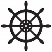 Ship Wheel Icon On White Background. Flat Style. Nautical Icon For Your Web Site Design, Logo, App,  poster