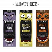 Vintage Halloween Party Invitation Ticket Pass Style Card Vector Template. Great Design For Hallowee poster