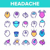 Color Headache Elements Icons Set Vector Thin Line. Migraine Brain, Tension And Cluster Headache Sym poster