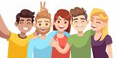 People Group Selfie. Guy Takes Group Photo With Smiling Friends On Smartphone In Hands Vector Cartoo poster
