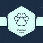 Grunge Line Paw Print Icon Isolated On Blue Background. Dog Or Cat Paw Print. Animal Track. Monochro poster