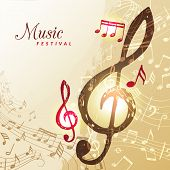 Music Notes Background. Festival Instrument Song Sound Stave Treble Clef Vector Illustration. Sound  poster