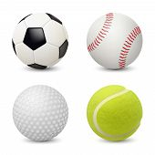 Sport Balls. Baseball Football Tennis Golf Vector Realistic Sport Equipment. Illustration Of Golf Ba poster
