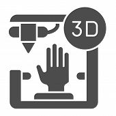 3d Organ Printing Solid Icon. Bionic Hand Printing Vector Illustration Isolated On White. 3d Arm Pri poster