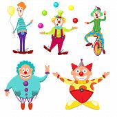 Cute, Funny, Multicolored Set Of Clowns With Different Emotions. Thick, Skinny, Funny, Funny, Joyful poster