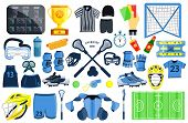 Big Lacrosse Set. Flat Vector Illustration Icons. Isolated On White. Lacrosse Equipments. Goal, Wear poster